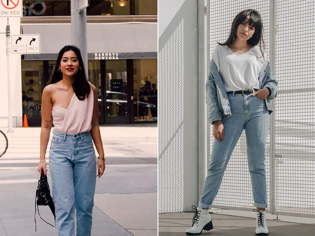 Looks com mom jeans.